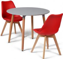 Toulouse Dining Set  - 90cms Round Grey Table & 2 Red Chairs